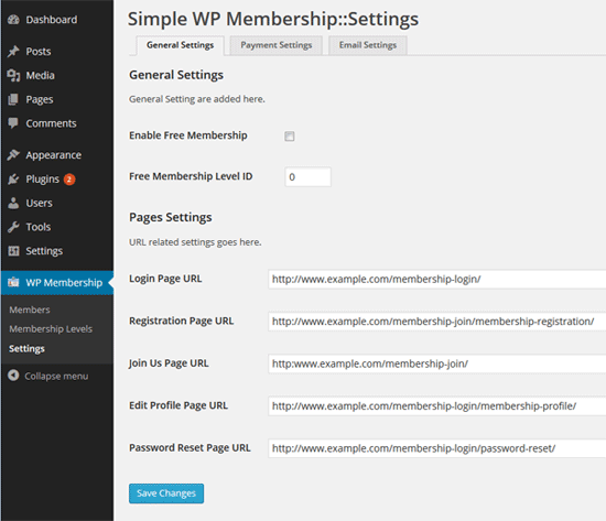 Simple WP membership plugin settings screen