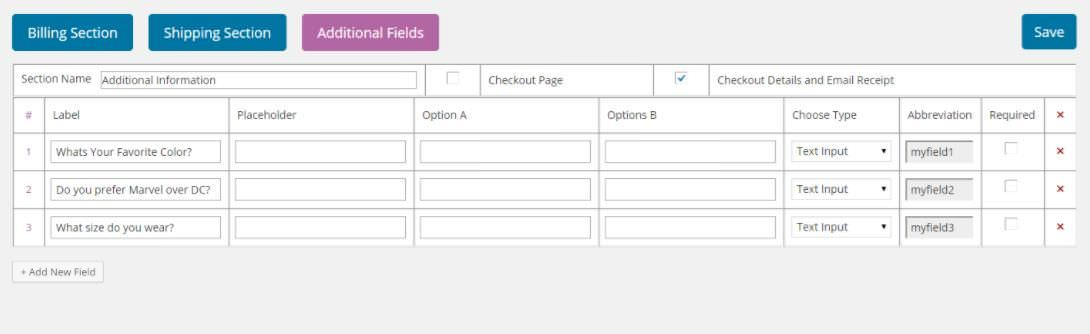 Settings of WooCommerce Checkout Manager
