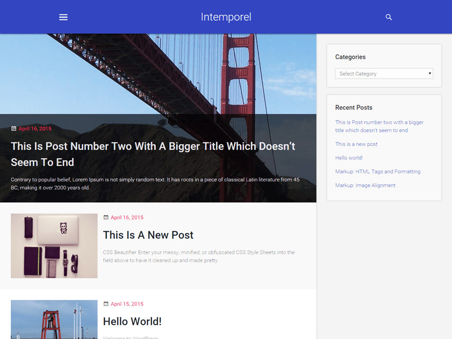 Intemporal is a blogging-focused theme