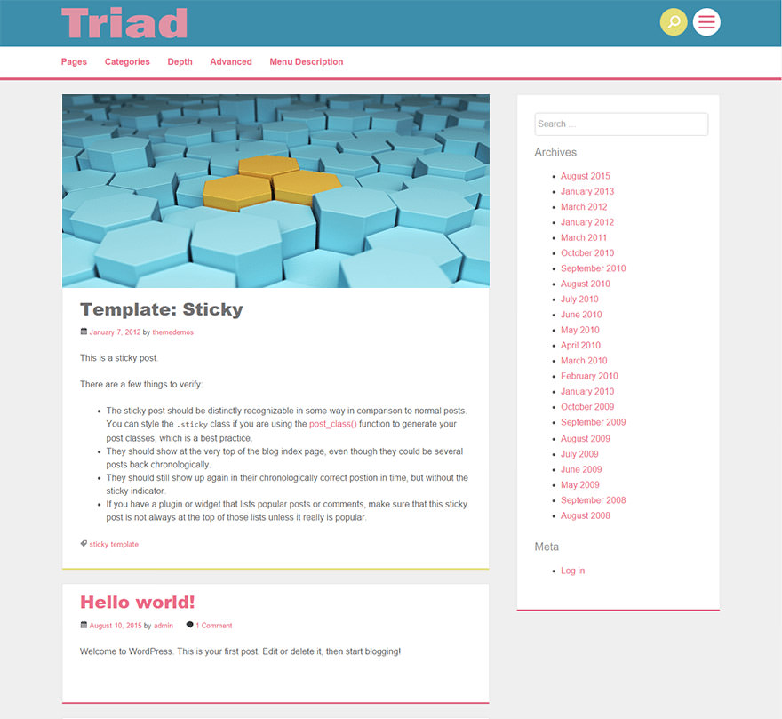 Triad is a blogging-focused theme