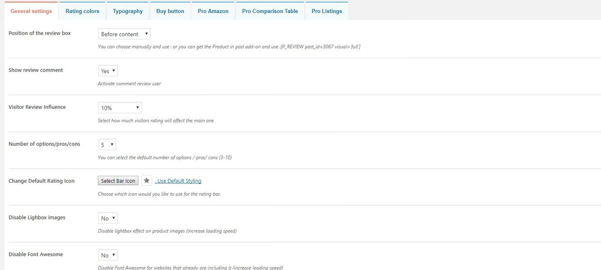 Settings of Download WP Product Review Lite