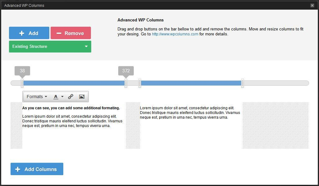 Manager window of Advanced WP Columns