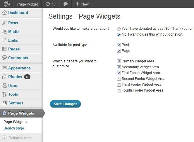 Settings of Page Widgets