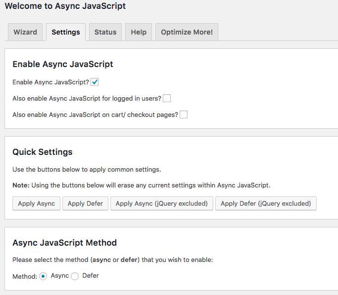 async javascript plugin settings