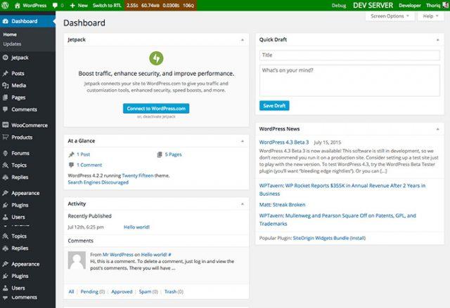 WordPress dashboard in local