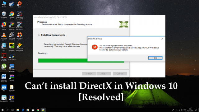 Can't install DirectX in Windows 10